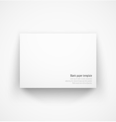 White horizontal paper template mock-up with drop vector image