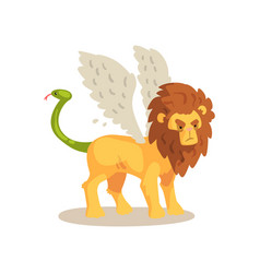winged lion ancient mythical creature cartoon vector image