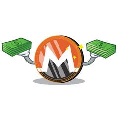 with money monero coin character cartoon vector image