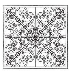 Wrought-iron square panel is a very rich pattern vector