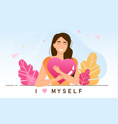 Young female character is practicing self love vector