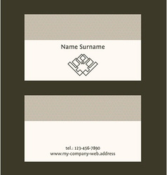 Business card layout Linear geometric logo and vector image