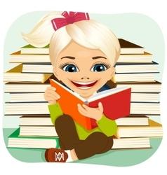 little blonde girl reading an interesting book vector image