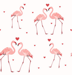 pink flamingos red hearts seamless pattern texture vector image