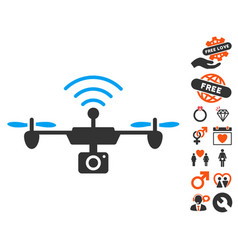 radio camera airdrone icon with lovely bonus vector image vector image