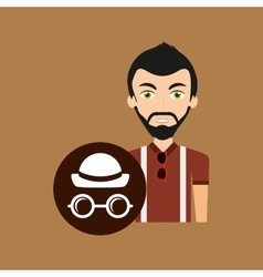Young hipster man hat and glasses retro vector