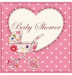 Baby shower with heart and baby carriage pink vector image vector image