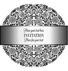 baroque background with antique luxury silverblack vector image
