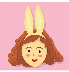 Cute Curly Girl with Rabbit Headband vector image vector image