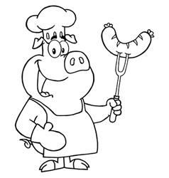 Pig chef cooking pork cartoon vector image