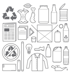 recycling and various waste icons vector image vector image
