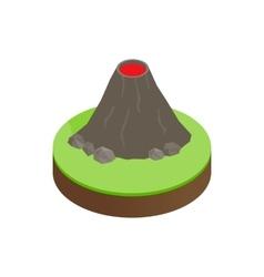 Volcano erupting isometric 3d icon vector image