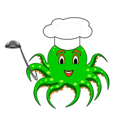 A cartoon octopus with a chef hat and a ladle vector image