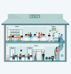 bank building exterior and interior with counter vector image