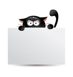 Funny black cat hunts vector image