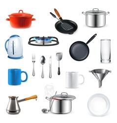 Kitchen utensils set vector image vector image