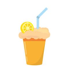 milk shake orange juice straw vector image