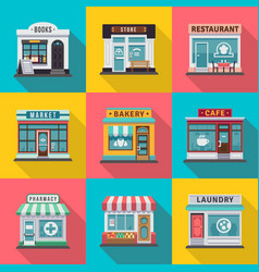 set of flat shop building facades icons vector image vector image