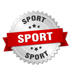 sport round isolated silver badge vector image vector image