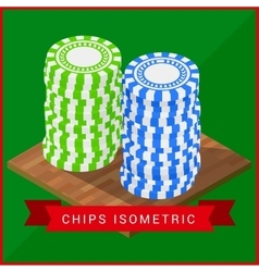 Stacked pocker chips isometric flat vector