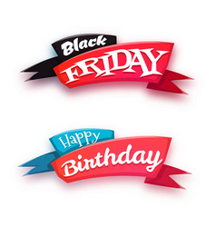 black friday sale banner with ribbon isolated on vector image vector image