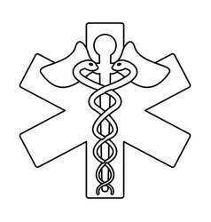 caduceus medicine care symbol thin line vector image