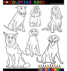 Cartoon Dogs or Puppies Coloring Page vector image vector image