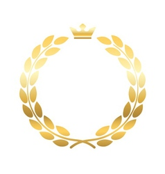 Gold laurel wreath crown emblem vector image vector image