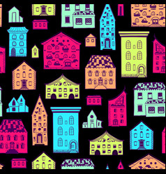 seamless pattern color houses-06 vector image vector image