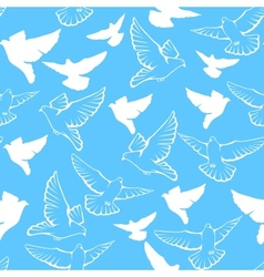 seamless pattern of a flock flying pigeons vector image vector image