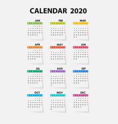 2020 calendar templatecalendar 2020 set 12 vector image