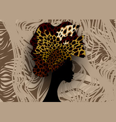 African wedding hairstyle head wrap leopard scarf vector