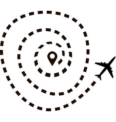 Airplane route in dotted line shape vector