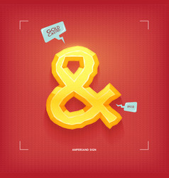 ampersand symbol golden jewel typeface element vector image