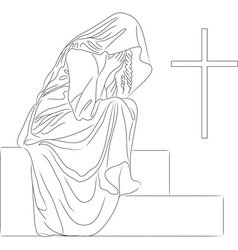 angel tombstone vector image