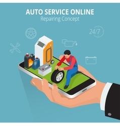 Auto repairing concept service online car vector