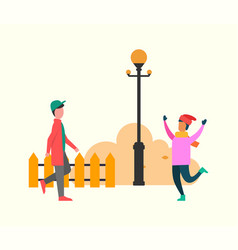 autumn meeting friends chums in street vector image