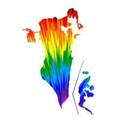 Bahrain - map is designed rainbow abstract vector