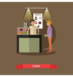Barista and visitor in flat vector