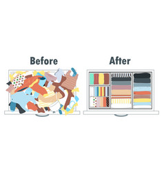 Before and after tidying up kids wardrobe in vector