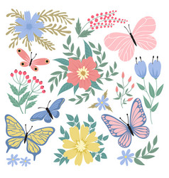 Butterflies and flowers hand drawn summer vector