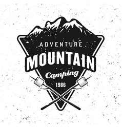camping and traveling badge with mountains vector image