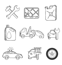 Car service sketch icons set vector