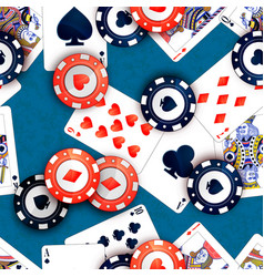 Casino chips and poker cards on blue table vector