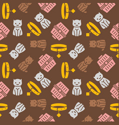 cat and dog themeseamless pattern for wallpaper vector image