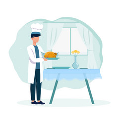 chef in white robe presenting fried chicken vector image