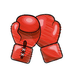 Color boxing gloves icon vector