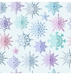 Colored snowflake seamless pattern vector