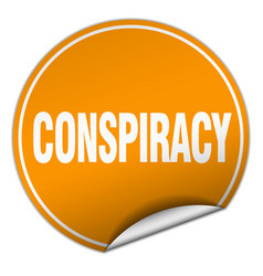 Conspiracy round orange sticker isolated on white vector
