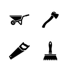 Construction and repair tools simple related icons vector